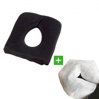 Gezichtskussen/Hoofdsteunkussen Soft FoamGel Zwart & 100 disposables U TAO-line