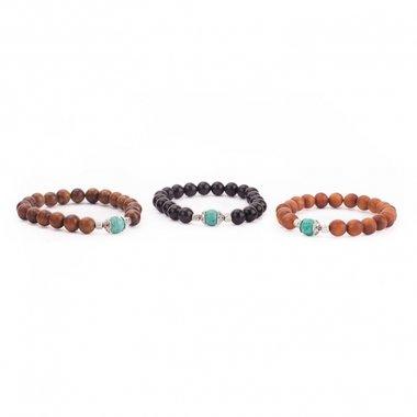3 MALA Armbanden Hout met turquoise Medium