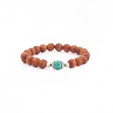 MALA Armband Sandelhout met turquoise Medium