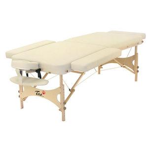 Klankschalen Massagetafel 204x81cm + verstelbare hoofdsteun + hangende armsteun +verlengstuk + 2 zijdelingse verbreders Crème + draagtas TAO-line