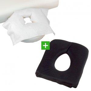 Gezichtskussen/Hoofdsteunkussen Soft FoamGel Zwart & 100 disposables X TAO-line